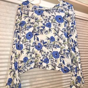 Tops - Long sleeved, blue and white top